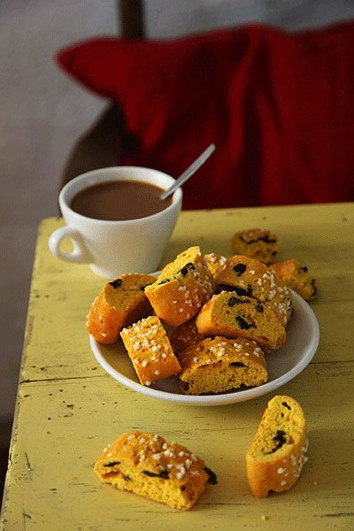 Saffron Biscotti  Based on a recipe from Stockholm's famed Vete-Katten bakery, these saffron-spiced biscotti are shorter and fatter than traditional ones.
