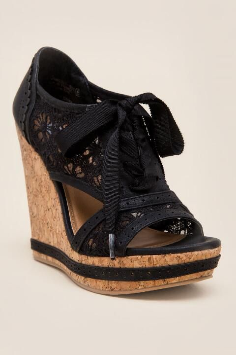 Not Rated, Catalonia Lace Oxford Wedge-Black