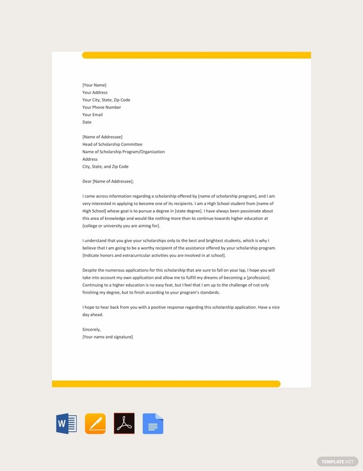 Free college scholarship application letter scholarships