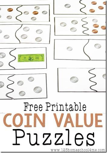 FREE Coin Value Puzzles kids and money, teachiing kids about money #kids