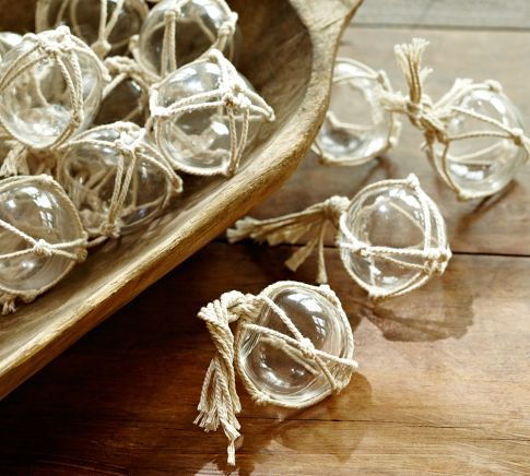 Little glass buoys with rope, for vase fillers