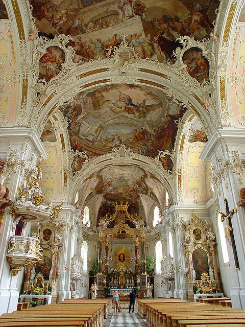 White and gold baroque extravagance in Wilten Basilica,  Innsbruck, Austria.