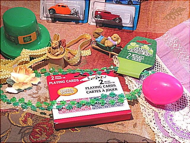 St. Patrick's shamrock necklace and doll hat, cars, eggs, trims, fabric, table runner, vintage bunny in hat, bunnies ornament....