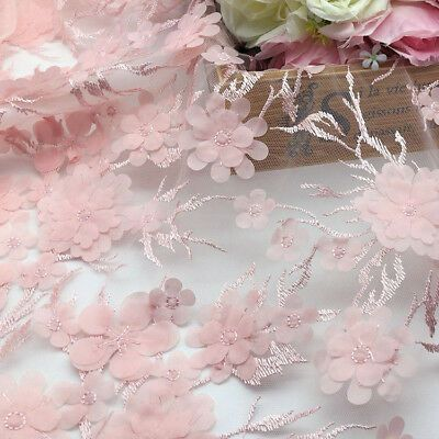 Pink 3D Floral Bridal Gown Lace Tulle Trim Embroidered Costume Dress Fabric 1 M