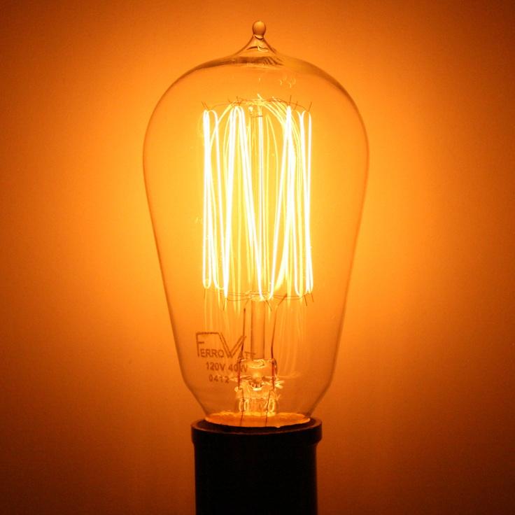 Ferrowatt 021786 40 Watt 120 Volt Squirrelcage Filament Medium Screw Base Ferrowatt 1910 1910n 40w 120v E26 Base Antique Light Bulbs Light Bulb Bulb