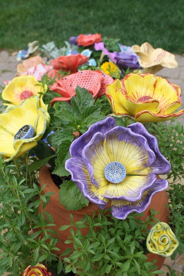 Poppy flower stake garden art poppy strong metal yard art flower - 2014 Garden Art Show A Success Ceramic Flowersclay Flowersart Showsyard