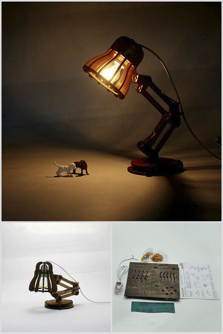 The table lamp made of wood in the style of a loft. It has one unique feature, you must collect by himself with the instruction. It will be the good and useful gift for your child. Price $32.99 #Pixar #Light