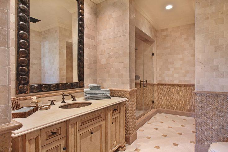 basket weave tile Bathroom Mediterranean with framed mirror glass shower doors neutral recessed