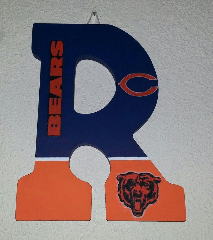 Wooden initial - Chicago Bears fan. For the front door