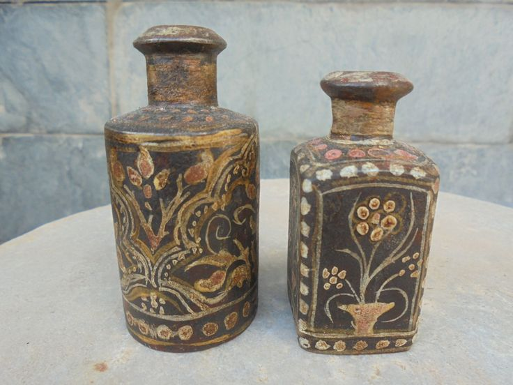A Pair of very Unusual Hand Painted Indian Iron Perfume bottles from Rajasthan. by Lallibhai on Etsy