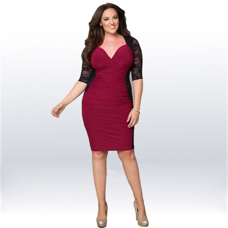 Women Plus Size Clothing XXXL Fashion Sexy V Neck Lace Patchwork Color Block Big Size Casual Party Bodycon Dress KF818