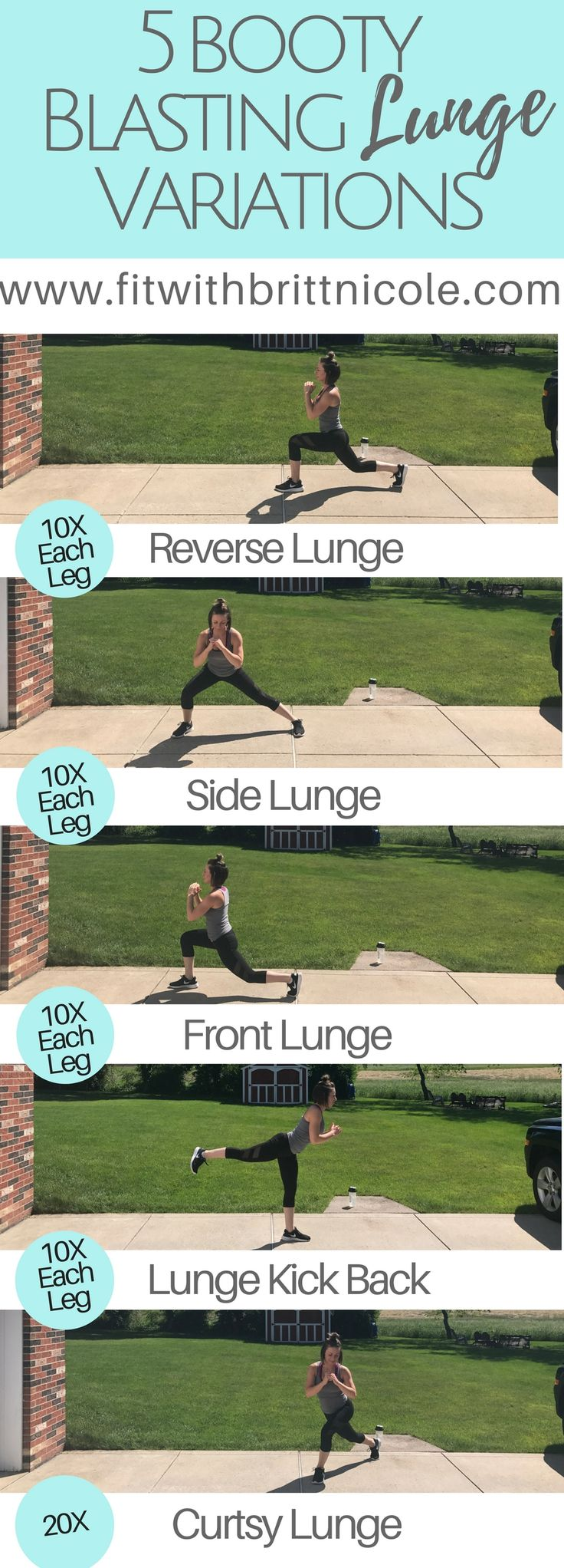 Lunges are THE BEST way to build your booty! 5 Booty Blasting Lunge Variations to build and tone your booty! Lunges are an awesome butt exercise that I add to every one of my leg workouts!