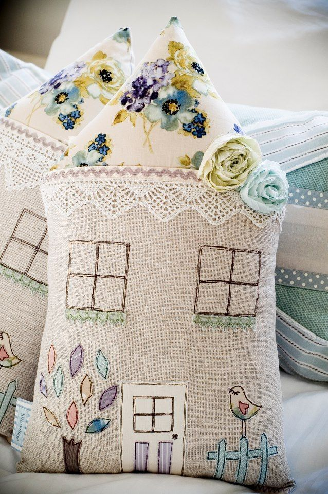 Pretty house cushions - this design would also be great for the front of a 3D weighted door stop :)
