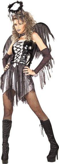 Langennut Enkeli. Pirullisen hieno enkeliasu sopii monenlaisiin juhliin joissa naamiaisasulle on käyttöä, Halloween bileistä kesäfestareille.