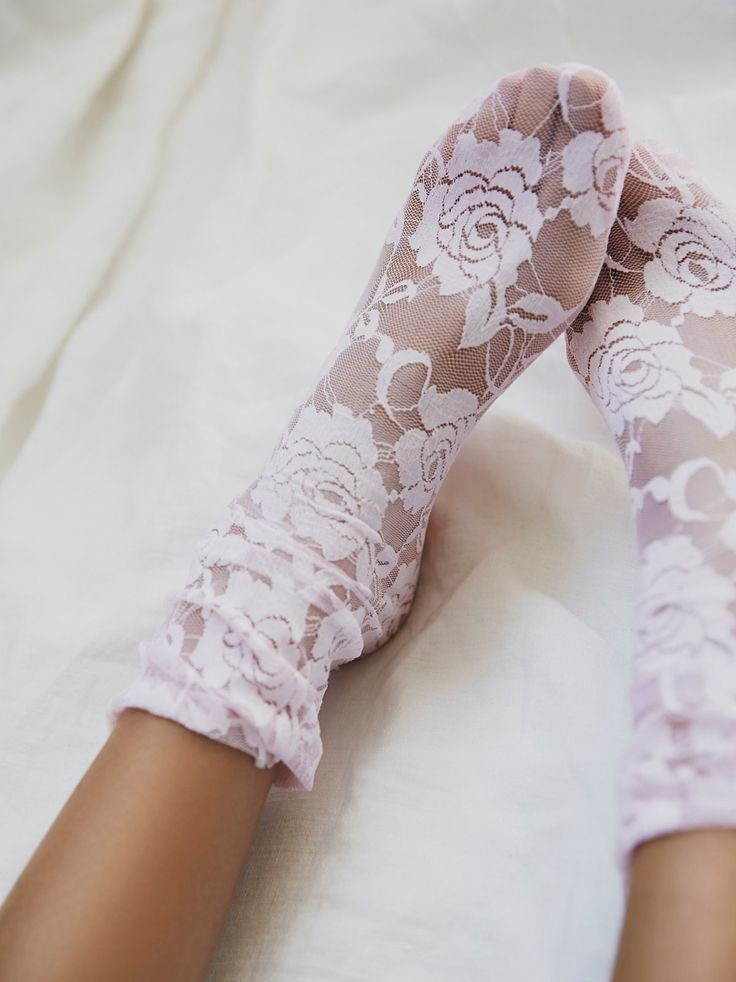 Free People Smitten Lace Sock... This would look soooooooo cute with a short poofy black dress and a bad ass pair of black heels! <3 <3 <3