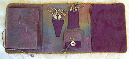 Colourstreams needlebook-open: Scissor Cases, Pincushion, Needlebooks Organizers, Colourstreams Needlebook Open, Guilded Needlecase, Needlebook Inside, Needle Cases, Needlecase Inside