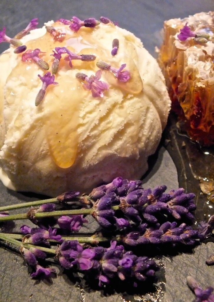 Lavender honey ice cream using fresh lavender from http://maddocksfarmorganics.co.uk