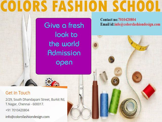 """We offers Best <a href=""""http://www.colorsfashiondesign.com/about-us.php"""">Fashion Designing courses in Chennai</a>.We provide Best quality of Training with Placement.The best career for people with this mind is fashion designer. To start a career, first step is to join a <a href=""""http://www.colorsfashiondesign.com/contact-us.php"""">Fashion Designing Course in Chennai</a> and the course is best offered at Colors School of Fashion Technology."""