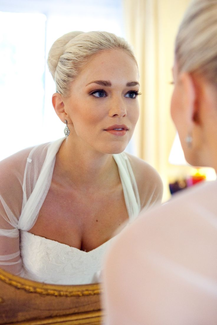Stunning bride just checking out her makeup before he wedding. This photo was taken at the beautiful Villa Padierna in Marbella.