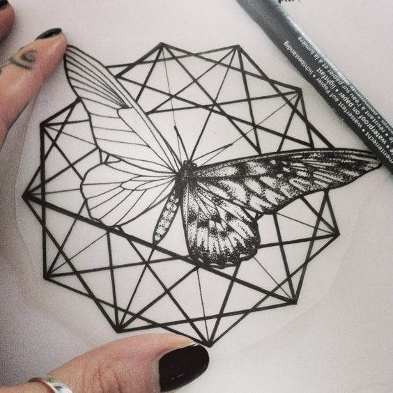 Black Geometric Matching Moth Tattoo Design