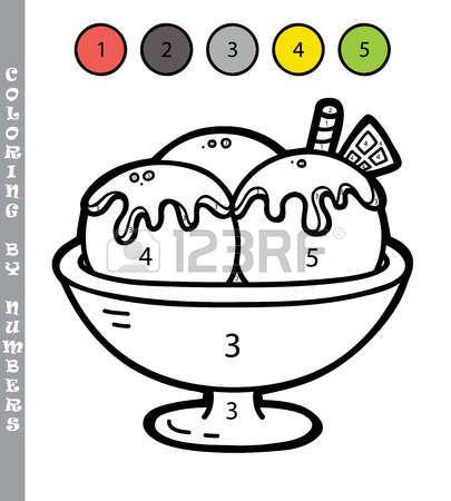 Colorear Por Numeros Divertido Juego Ilustracion Vectorial Para Colorear Por Numeros Juego Con Helado De Dibujos Animados Para Los Ninos Colorear Por Numeros Actividades Para Ninos Preescolar Material Didactico Para Ninos