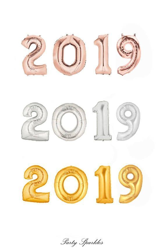 2019 Balloons in Gold, 2019 Rose Gold Balloons, 2019 Silver Number Balloons, Graduation Balloons, Grad Year, Graduation Party Decor