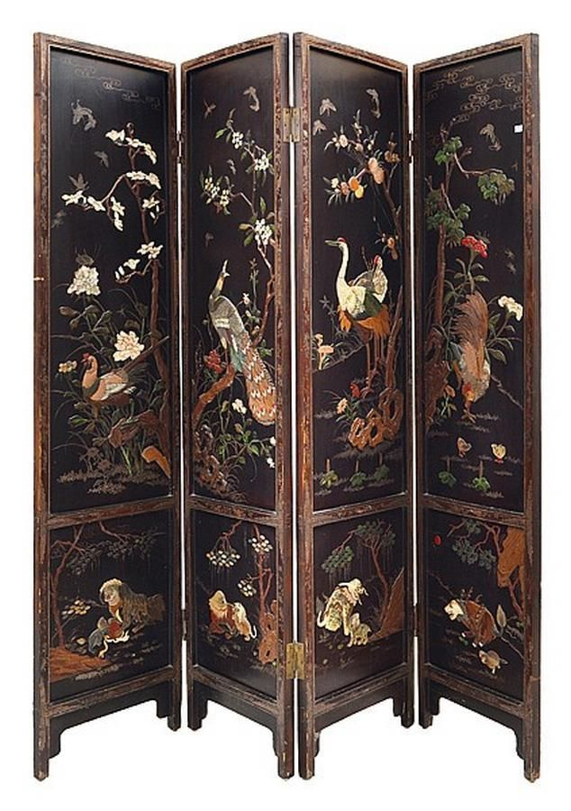 A Chinese Four Fold Floor Screen, 19th Century, Scenic Panelsu2026