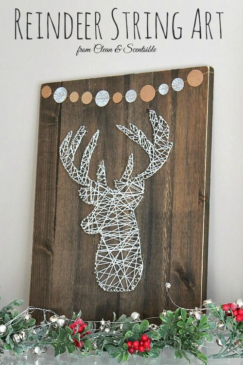 This reindeer string art is the perfect addition to your rustic Christmas decor…