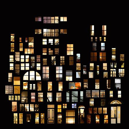 """Anne-Laure Maison: Tableaux d'intimités, These distinctive photographic collages by Anne-Laure Maison explore the inviting nature of the light that shines from a window at night:        """"At night, the illuminated windows take precedence over the architecture that surrounds them. They become real living pictures."""""""