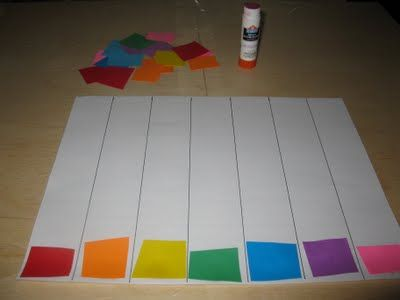 gluing matching color squares in columns! Great activity for age 3-4! You could do this with shape and even letters and numbers for preschoolers!!! Love it!