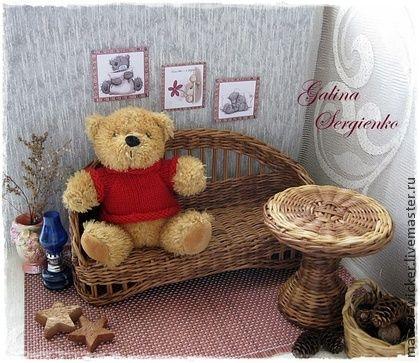 """Кукольная мебель """"Утро в саду"""". - коричневый,кукольная мебель,диван для куклы"""
