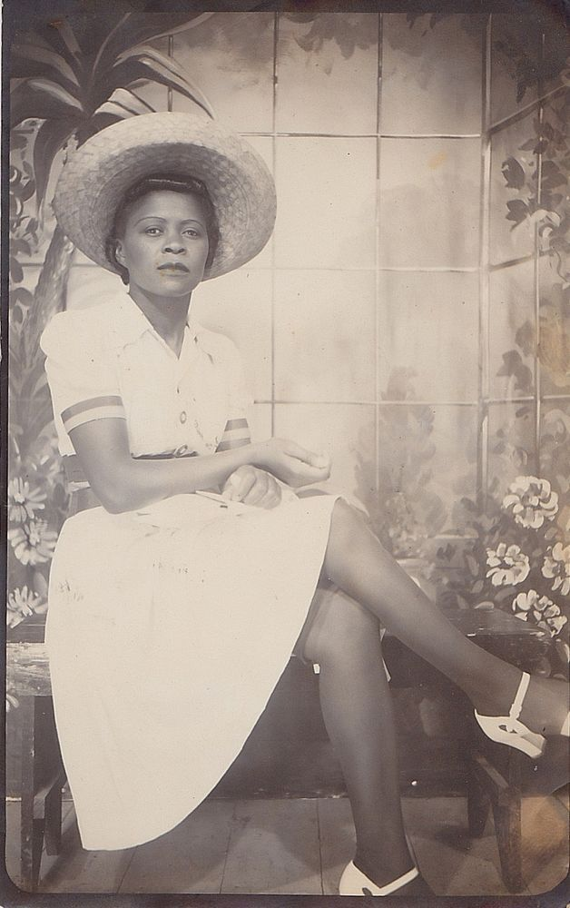 Old Vintage Antique Photograph Beautiful African American Woman In Great Outfit