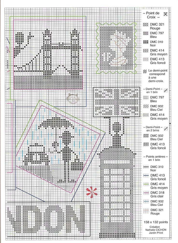 várias bandeirinhas de londres -cross stitch