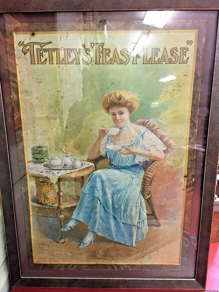 1908 Framed Advertising Tin Sign  ~ Tetley Tea