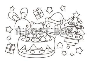 クリスマスぬりえ・ケーキとうさぎ・猫・パンダ