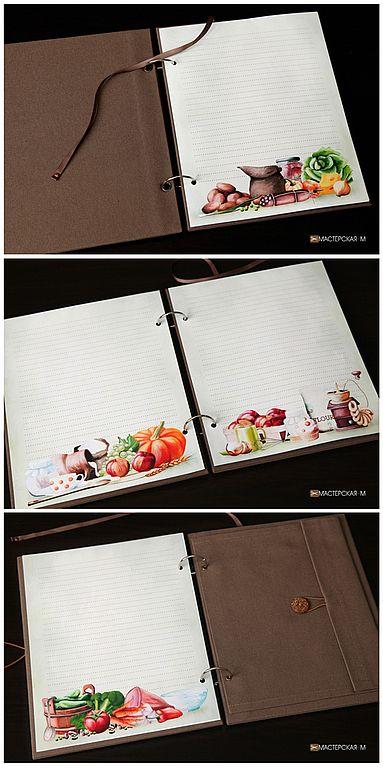 """Кулинарная книга """"Урожайная"""" (блокнот для записей) - коричневый,блокнот ручной работы"""