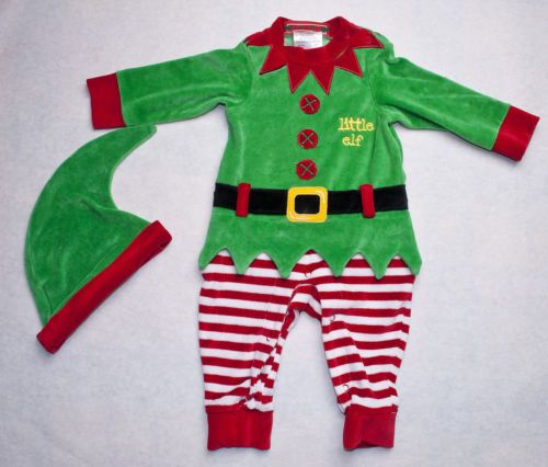 baby infant LITTLE ELF COSTUME CHRISTMAS OUTFIT w/ HAT sz 9m velour red/green