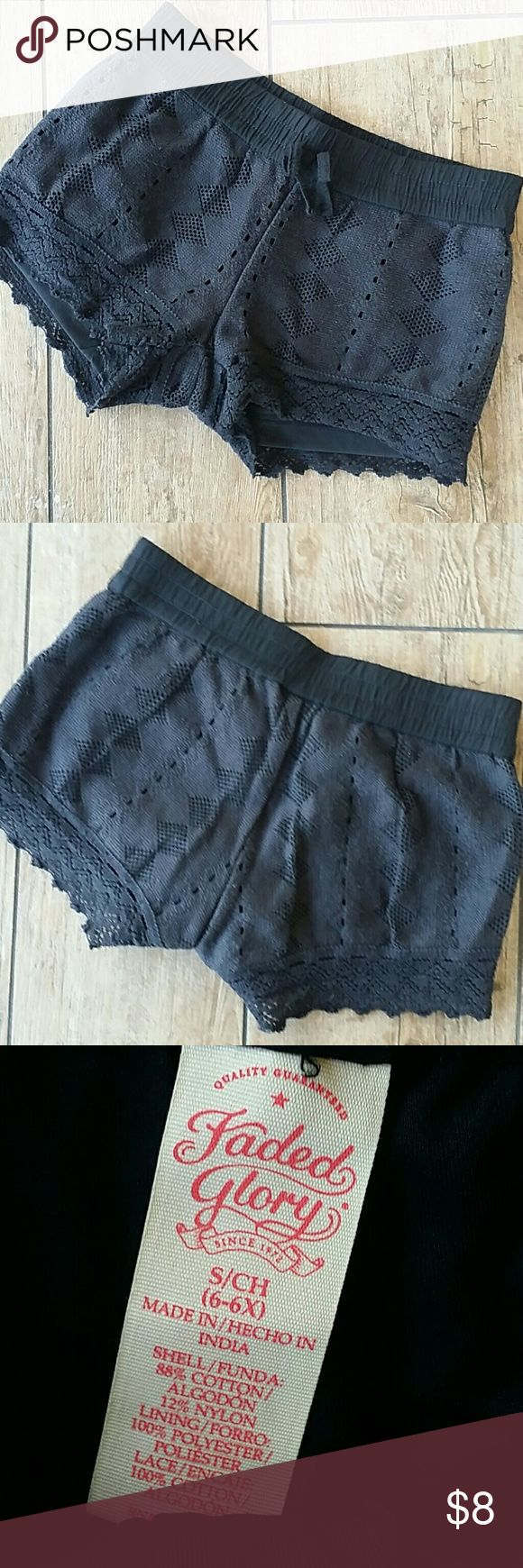 BLACK CROCHET SHORTS Girls black crochet shorts Lined with black short Elastic waist  Non working drawstring No rips, stains, pilling or fading Smoke free home Bottoms Shorts