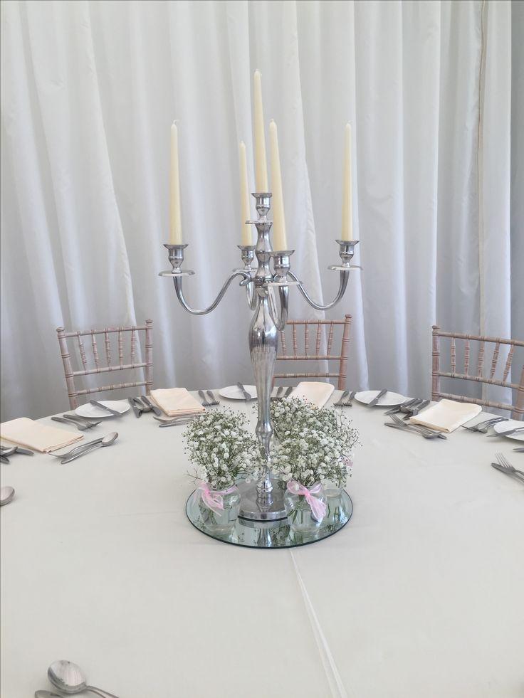 Silver Dress Candelabra accompanied with Gypsophila jam jars