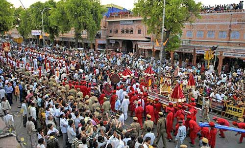 # Teej: An extensive parade is taken go into #Jaipur for 2 back to back days on the gay event that is watched by people in goliath numbers.