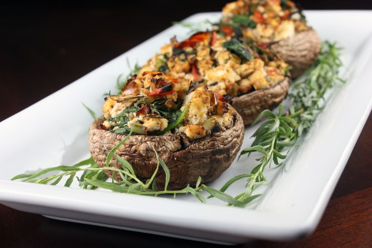 Grilled Stuffed Portobello Mushrooms (Gluten-Free, Vegan) @FoodBlogs