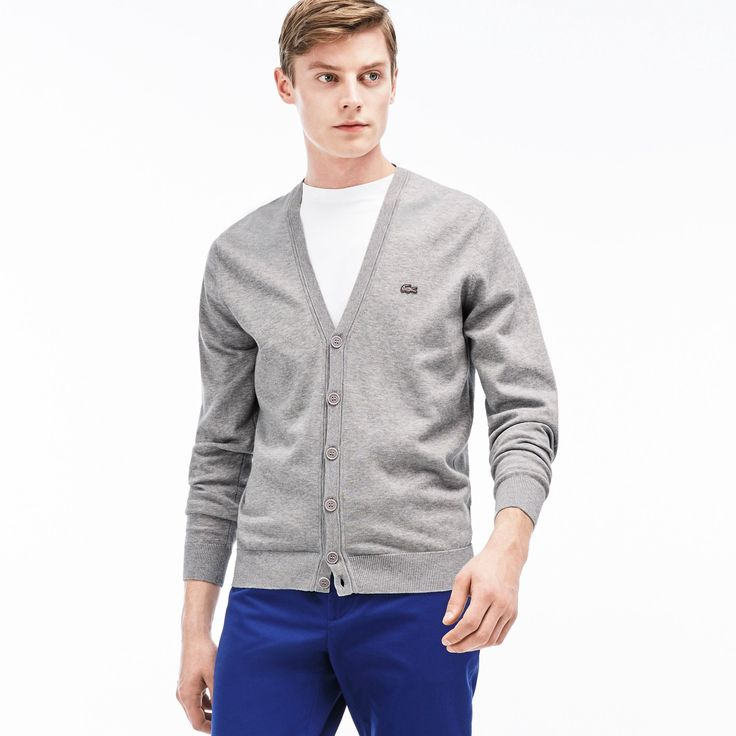 LACOSTE Men's Jersey Cardigan - silver grey chine. #lacoste #cloth #all