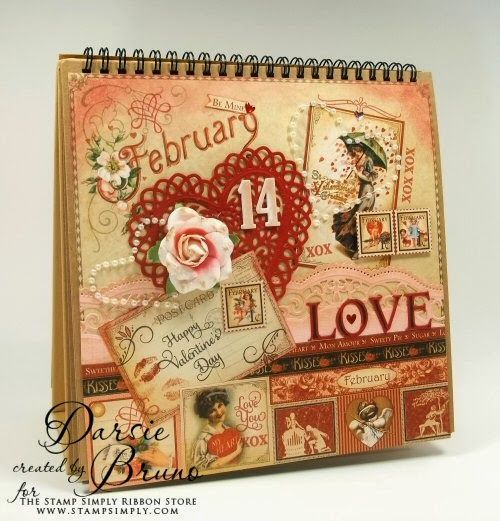 February Holiday Calendar using @Spellbinders Lace Hearts and Scalloped Borders Two with JustRite Papercraft Antique Valentine Tags One and Hugs and Kisses