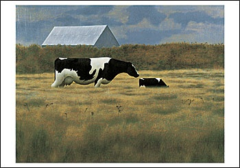 Cow and Calf Notecard, by Alex Colville