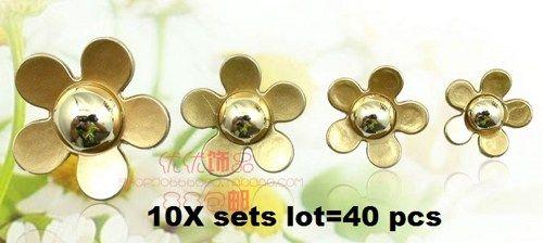 10 sets gold daisies 40 piece lot alloy diy bling phone deco etc | chriszcoolstuff - Craft Supplies on ArtFire