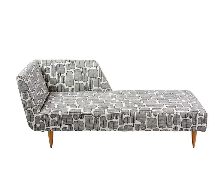 Lulu chaise with mono Miss Print fabric