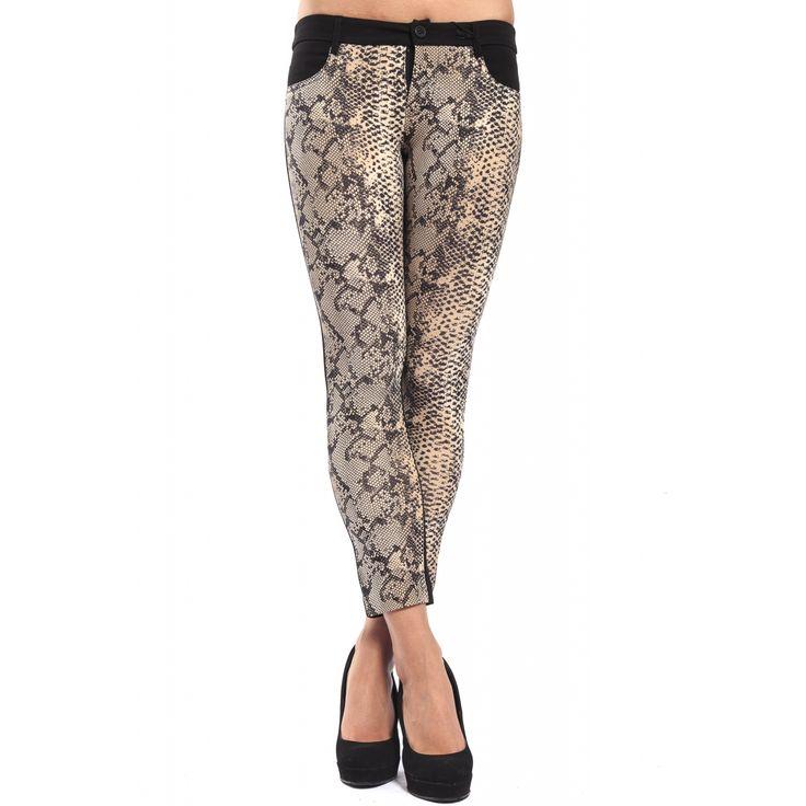 DENNY ROSE Pantalone leggings slim fit animalier NERO 52DR21021