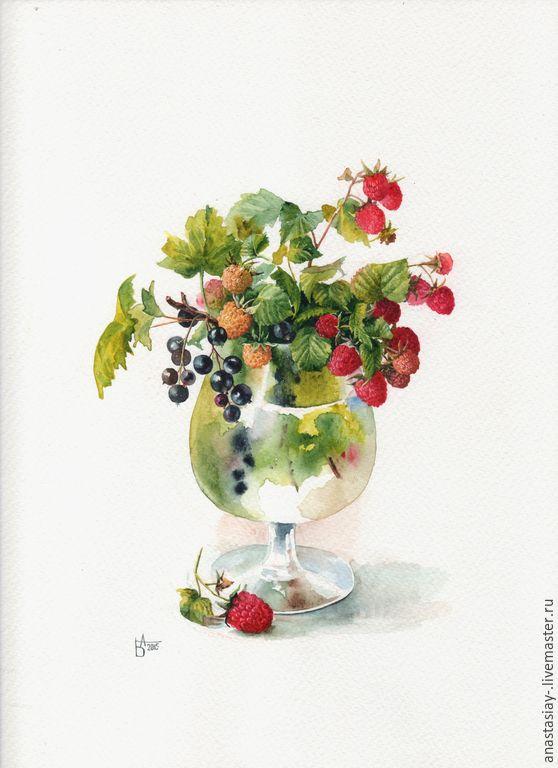 Купить Ягодный ликер - разноцветный, ягоды, малина, букет, акварель, акварельная картина, акварель