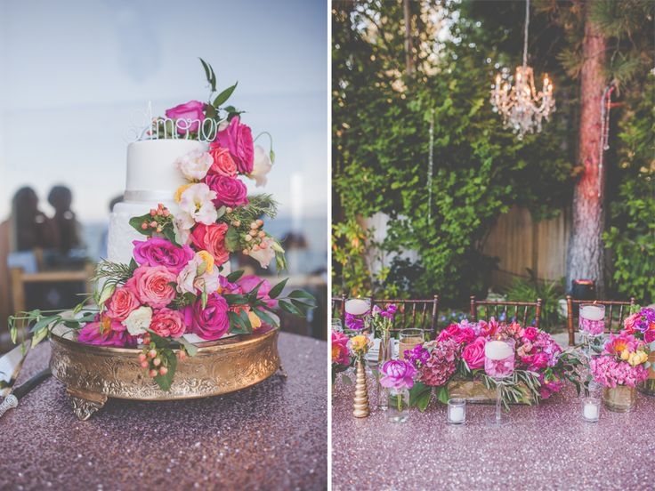Once Upon a Time Events has done it again! BEAUTIFUL pink hues at this wedding! Love the Blush Sequin Linens. #creativecoverings #blush #sequin #cake #floral #iwantthis #mywedding