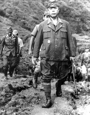 Japanese General Tomoyuki Yamashita (1885-1946), on the way along with his general staff to sign the surrender in the Philippines.